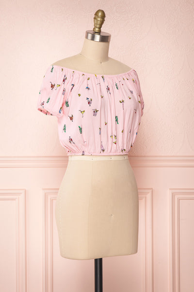 Dazaifu Pink Printed Off-Shoulder Crop Top | Boutique 1861 3