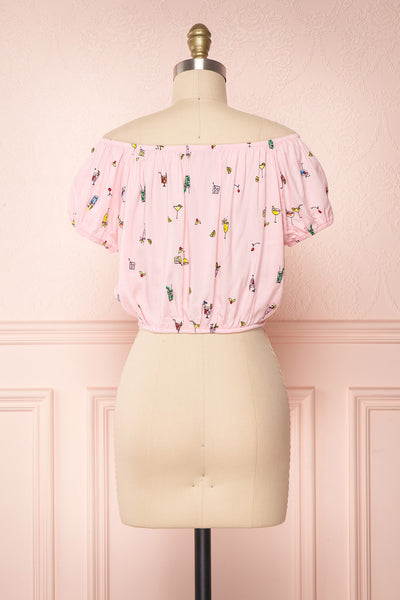 Dazaifu Pink Printed Off-Shoulder Crop Top | Boutique 1861 5