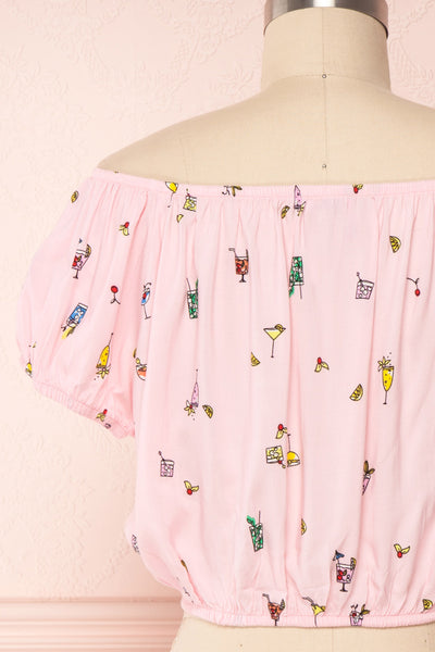 Dazaifu Pink Printed Off-Shoulder Crop Top | Boutique 1861 6