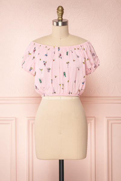Dazaifu Pink Printed Off-Shoulder Crop Top | La Petite Garçonne 1