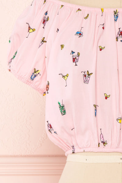 Dazaifu Pink Printed Off-Shoulder Crop Top | Boutique 1861 7