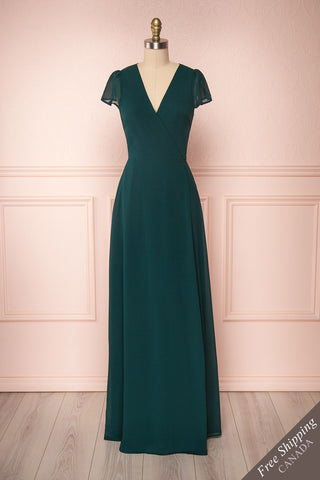 Debbie Émeraude Emerald Minimal Maxi Wrap Dress | Boudoir 1861 front view