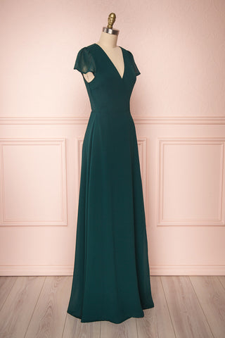 Debbie Émeraude Emerald Minimal Maxi Wrap Dress | Boudoir 1861 side view
