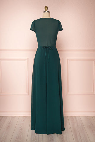 Debbie Émeraude Emerald Minimal Maxi Wrap Dress | Boudoir 1861 back view