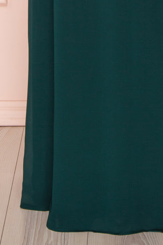 Debbie Émeraude Emerald Minimal Maxi Wrap Dress | Boudoir 1861 bottom close-up