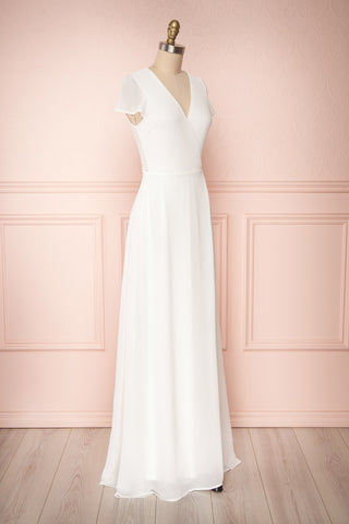 Debbie Ivoire Ivory Minimalist Maxi Wrap Dress | Boudoir 1861 side view