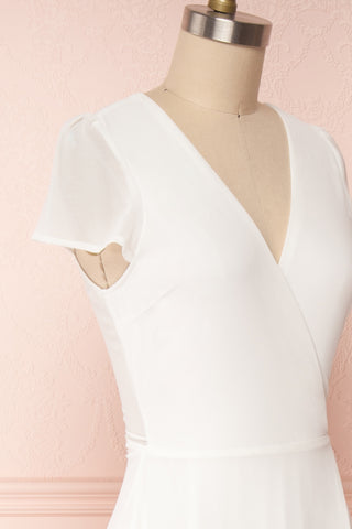 Debbie Ivoire Ivory Minimalist Maxi Wrap Dress | Boudoir 1861 side close-up