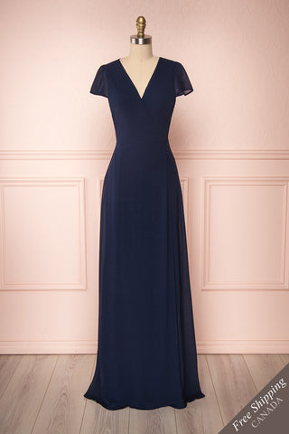 Debbie Marine Navy Minimalast Maxi Wrap Dress | Boudoir 1861 front view