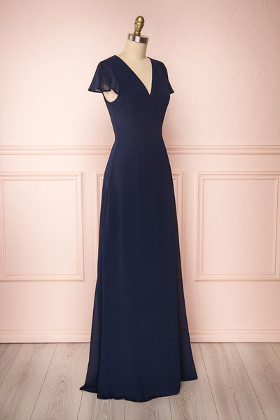 Debbie Marine Navy Minimalast Maxi Wrap Dress | Boudoir 1861 side view