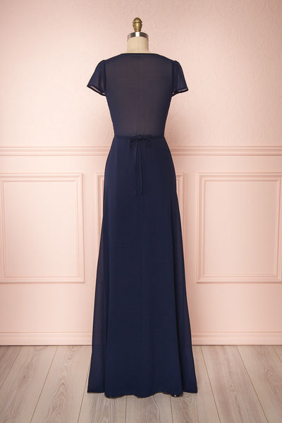 Debbie Marine Navy Minimalast Maxi Wrap Dress | Boudoir 1861 back view
