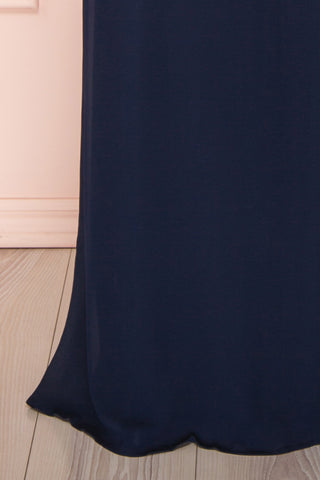 Debbie Marine Navy Minimalast Maxi Wrap Dress | Boudoir 1861 bottom close-up