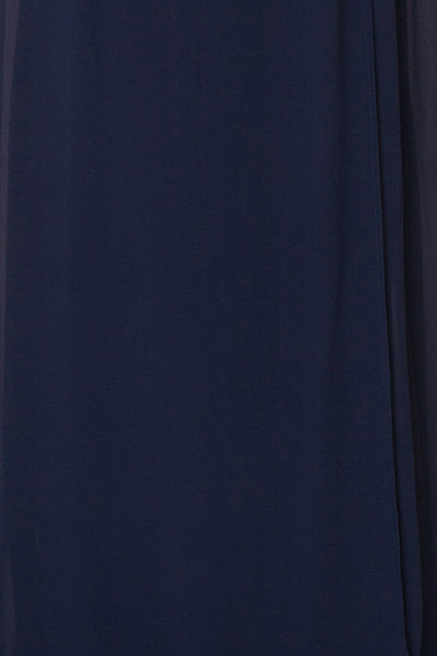 Debbie Marine Navy Minimalast Maxi Wrap Dress | Boudoir 1861 fabric close-up