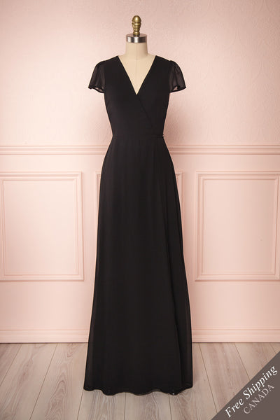 Debbie Noire Black Minimalist Maxi Wrap Dress | Boudoir 1861 front view