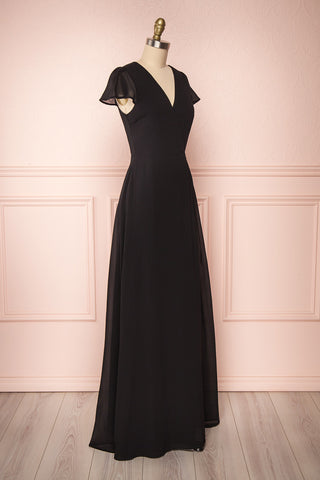 Debbie Noire Black Minimalist Maxi Wrap Dress | Boudoir 1861 side view