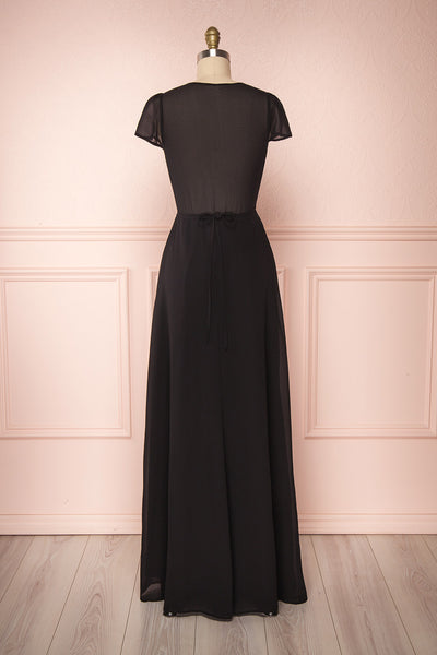 Debbie Noire Black Minimalist Maxi Wrap Dress | Boudoir 1861 back view