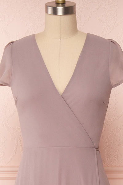 Debbie Taupe Mauve Minimalist Maxi Wrap Dress | Boudoir 1861 front close-up