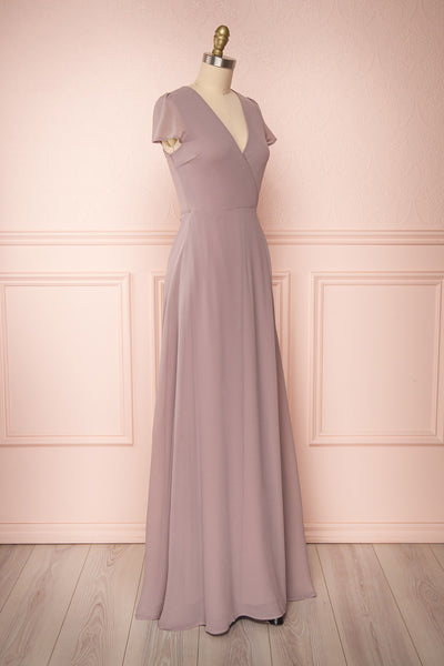Debbie Taupe Mauve Minimalist Maxi Wrap Dress | Boudoir 1861 side view