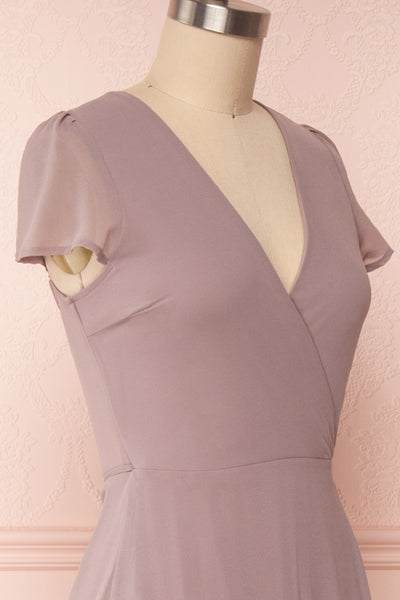 Debbie Taupe Mauve Minimalist Maxi Wrap Dress | Boudoir 1861 side close-up