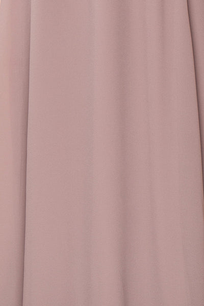 Debbie Taupe Mauve Minimalist Maxi Wrap Dress | Boudoir 1861 fabric detail