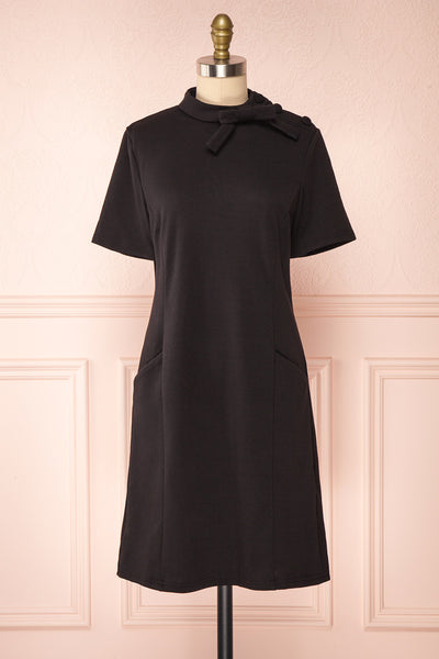 Delinela Short Black Dress w/ Bow | Boutique 1861 front view