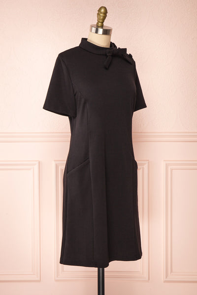Delinela Short Black Dress w/ Bow | Boutique 1861 side view