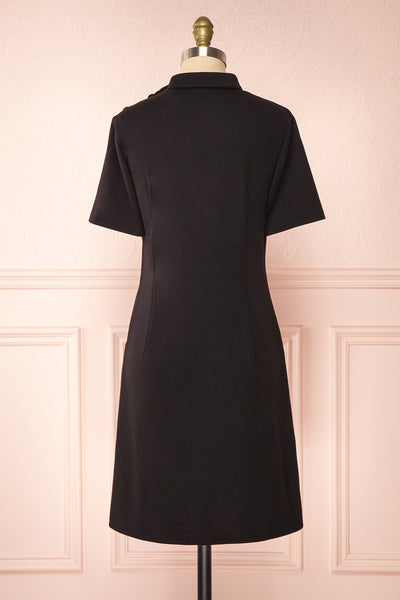 Delinela Short Black Dress w/ Bow | Boutique 1861 back view