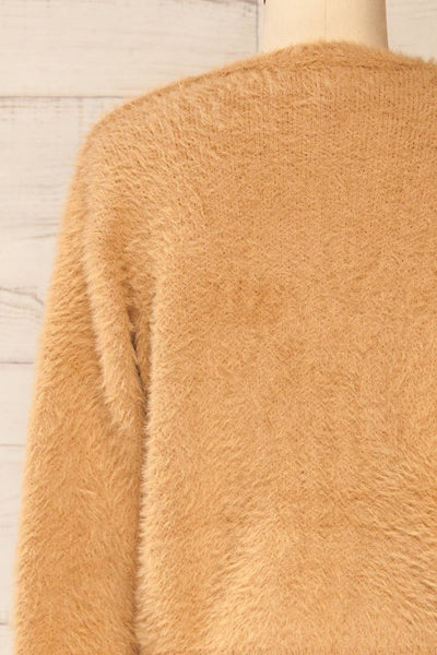 Delitzsch Beige Fuzzy Cropped Cardigan | La petite garçonne back close-up