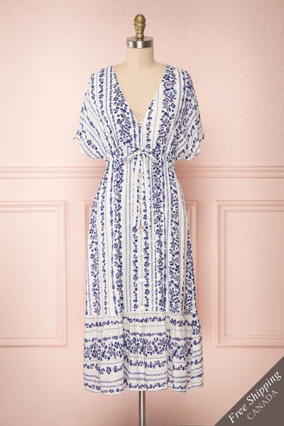 Denchen Loose White & Blue Floral Midi Summer Dress | Boutique 1861