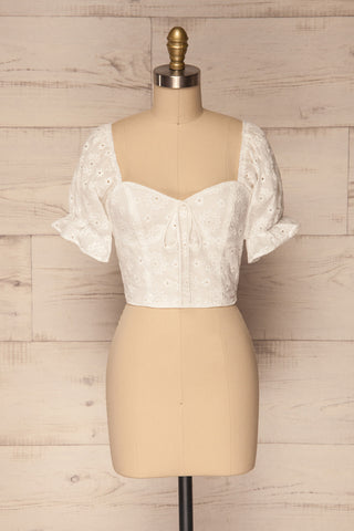 Dhamasi White Embroidered Crop Top | La Petite Garçonne