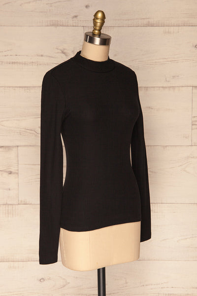 Didima Black Ribbed Top with Stand Collar | La Petite Garçonne side view