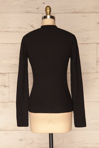 Didima Black Ribbed Top with Stand Collar | La Petite Garçonne back view