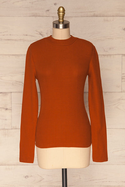 Didima Cinnamon Orange Ribbed Top with Stand Collar | La Petite Garçonne front view
