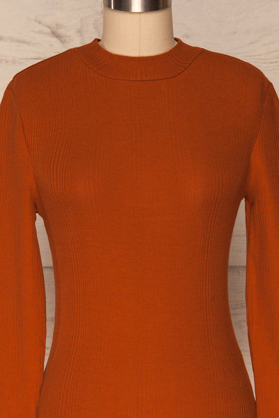 Didima Cinnamon Orange Ribbed Top with Stand Collar | La Petite Garçonne front close-up