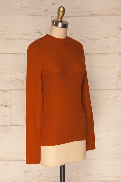 Didima Cinnamon Orange Ribbed Top with Stand Collar | La Petite Garçonne side view