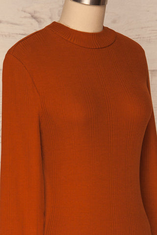 Didima Cinnamon Orange Ribbed Top with Stand Collar | La Petite Garçonne side close-up