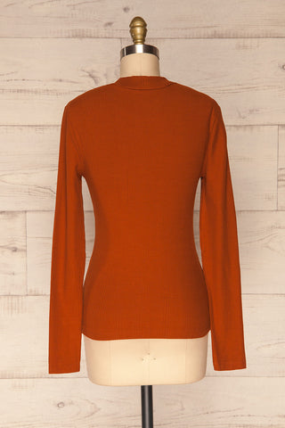 Didima Cinnamon Orange Ribbed Top with Stand Collar | La Petite Garçonne back view