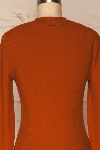 Didima Cinnamon Orange Ribbed Top with Stand Collar | La Petite Garçonne back close-up