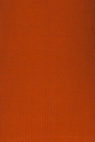 Didima Cinnamon Orange Ribbed Top with Stand Collar | La Petite Garçonne fabric detail