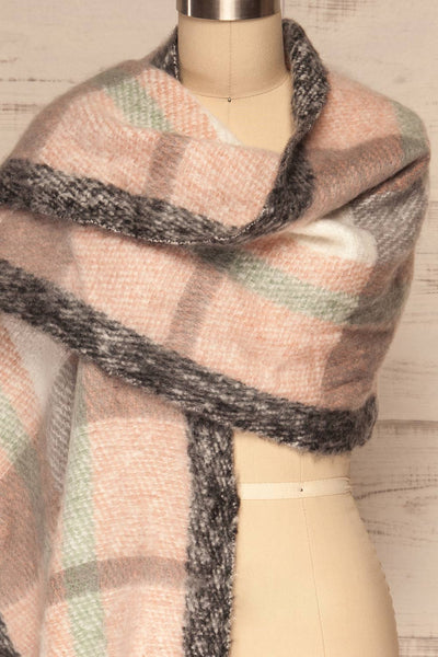 Distroff Colorful Soft Knit Scarf with Fringe | La Petite Garçonne wrap close-up