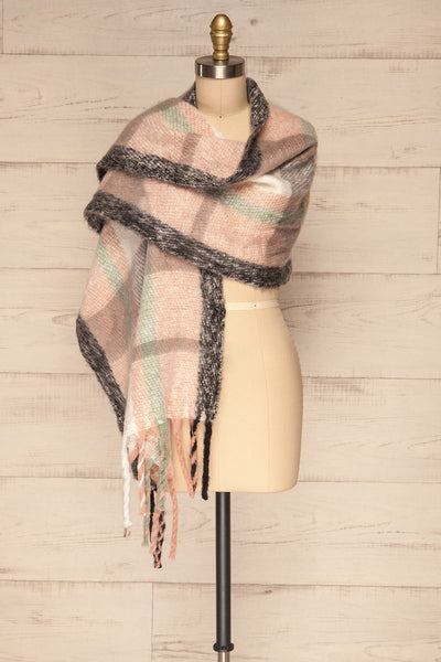 Distroff Colorful Soft Knit Scarf with Fringe | La Petite Garçonne wrap view