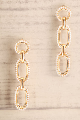 Divimoen Golden & Pearl Pendant Earrings | La Petite Garçonne