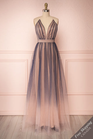 Docina Beach Navy Blue & Blush Tulle Maxi Prom Dress | FRONT VIEW | Boutique 1861