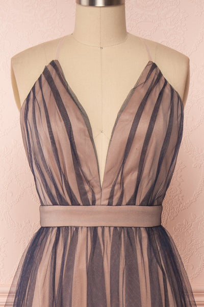 Docina Beach Navy Blue & Blush Tulle Maxi Prom Dress | FRONT CLOSE UP | Boutique 1861