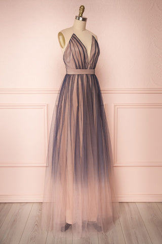 Docina Beach Navy Blue & Blush Tulle Maxi Prom Dress | SIDE VIEW | Boutique 1861