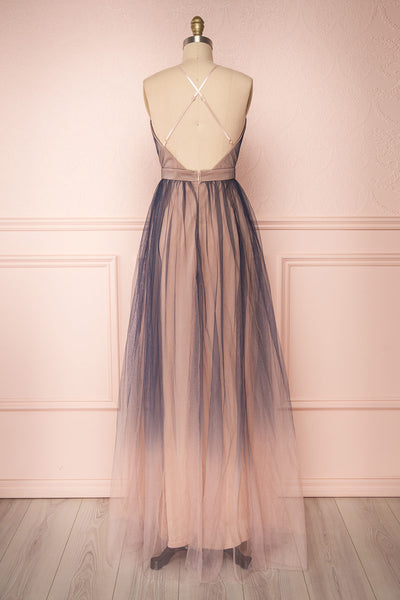 Docina Beach Navy Blue & Blush Tulle Maxi Prom Dress | BACK VIEW | Boutique 1861