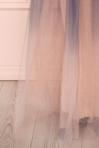 Docina Beach Navy Blue & Blush Tulle Maxi Prom Dress | BOTTOM CLOSE UP | Boutique 1861
