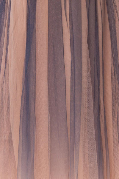 Docina Beach Navy Blue & Blush Tulle Maxi Prom Dress | FABRIC DETAIL | Boutique 1861