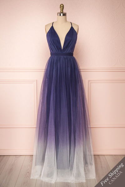 Docina Ocean Navy Blue & White Tulle Maxi Prom Dress | FRONT VIEW | Boutique 1861