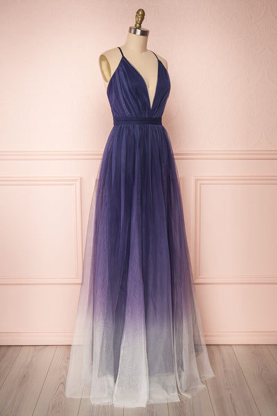 Docina Ocean Navy Blue & White Tulle Maxi Prom Dress | SIDE VIEW | Boutique 1861