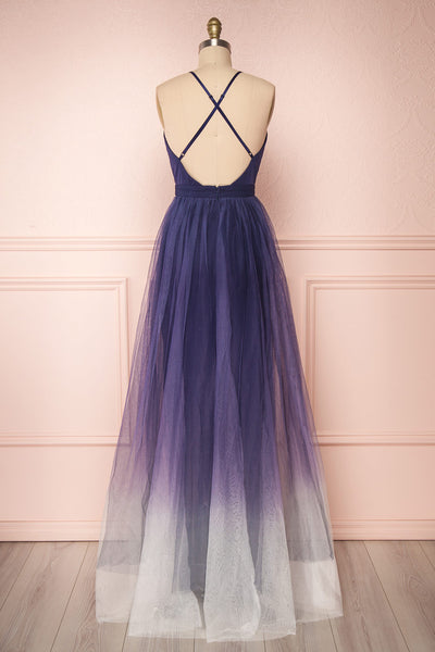 Docina Ocean Navy Blue & White Tulle Maxi Prom Dress | BACK VIEW | Boutique 1861